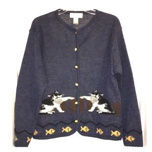 CATS theme knitted Cardigan Button sweater Sz L